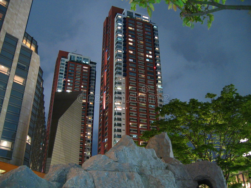 Roppongi Hills Residences night scene (六本木ヒルズレジデンス) stock image