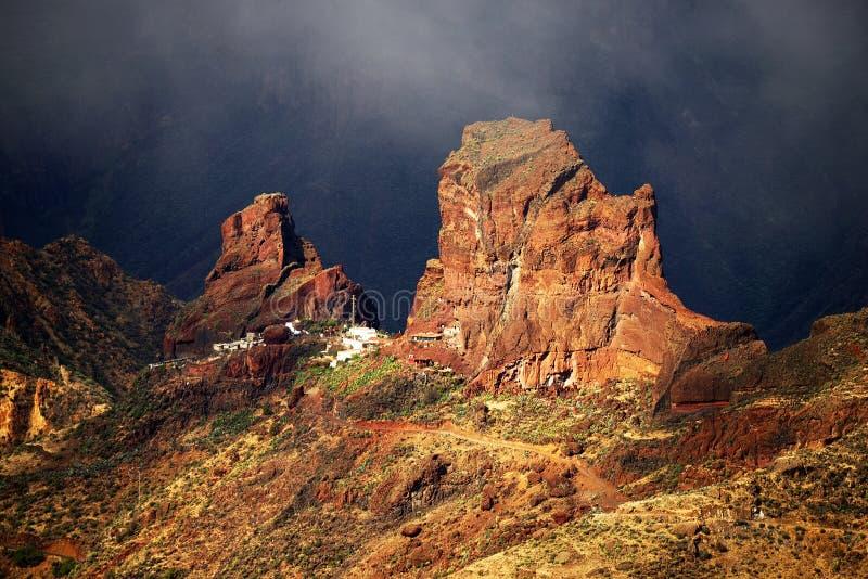 Roque Bentayga, marco de Gran Canaria foto de stock royalty free