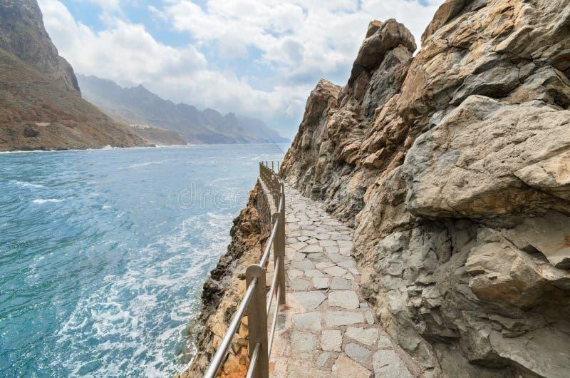 Roque de在Taganana海岸线,特内里费岛,加那利群岛西班牙的las Bodegas 库存照片