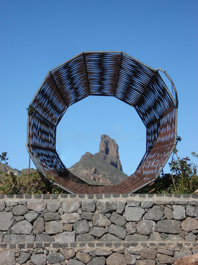 Roque de Bentayga Tejeda Gran Canaria arkivbilder