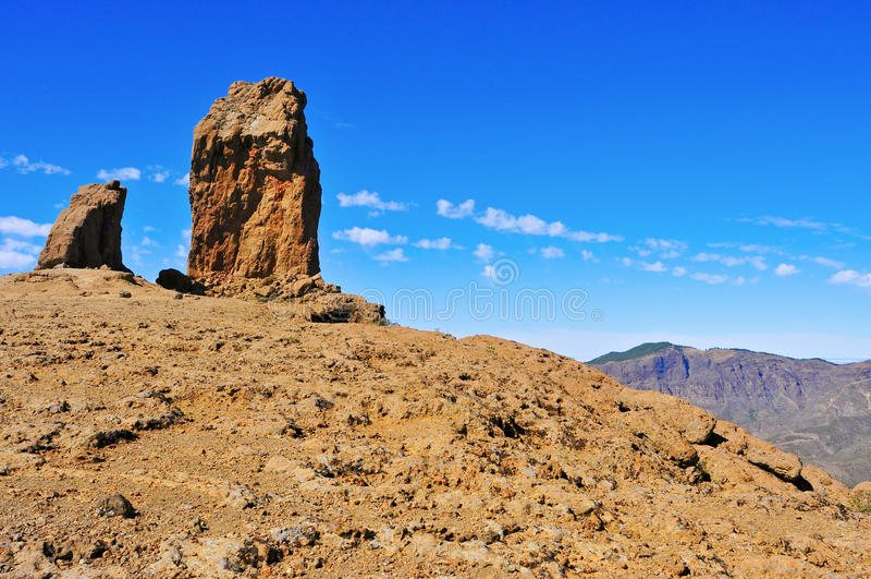 Roque Nublo-monoliet in Gran Canaria, Spanje stock foto