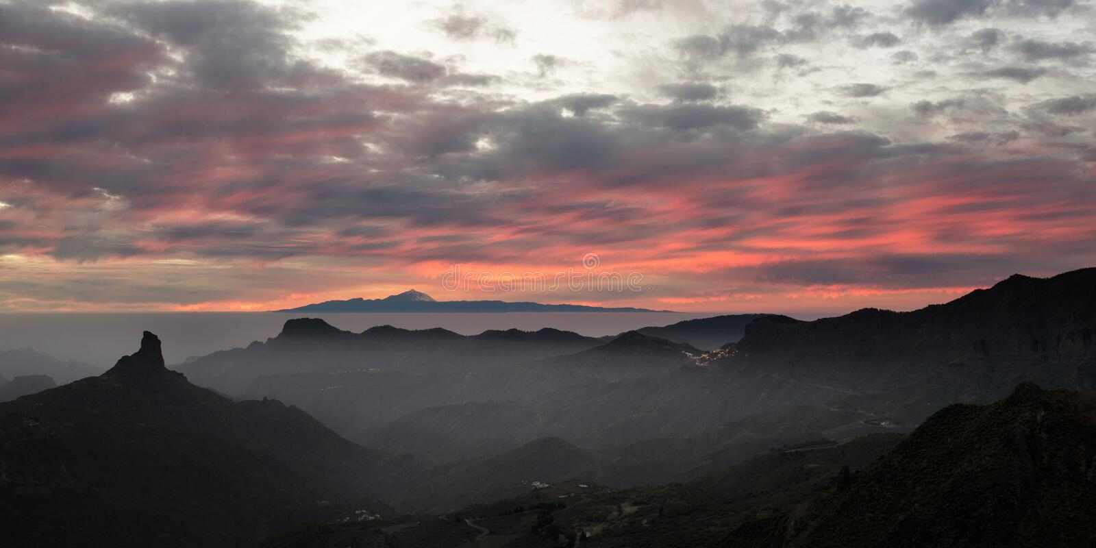 Roque Nublo Sunset Gran Canaria photos libres de droits