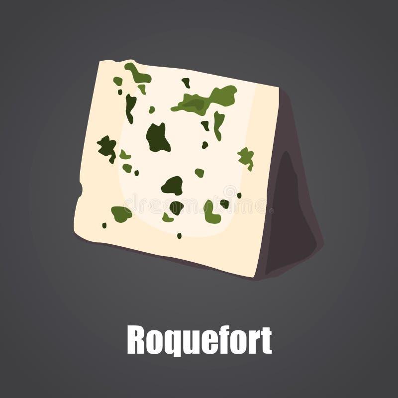 Roquefort επίπεδο εικονίδιο χρώματος φετών τυριών απεικόνιση αποθεμάτων