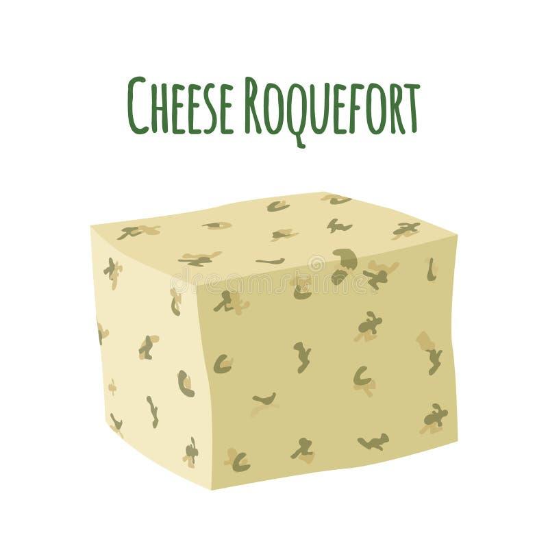 Roquefort τυρί με τη φόρμα Γαλακτοκομικό γαλακτώδες προϊόν Επίπεδο ύφος ελεύθερη απεικόνιση δικαιώματος
