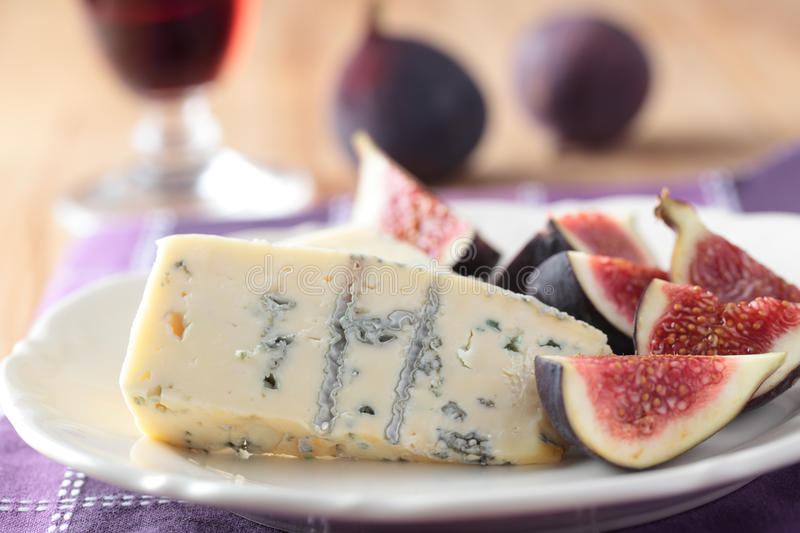Roquefort and figs stock photo