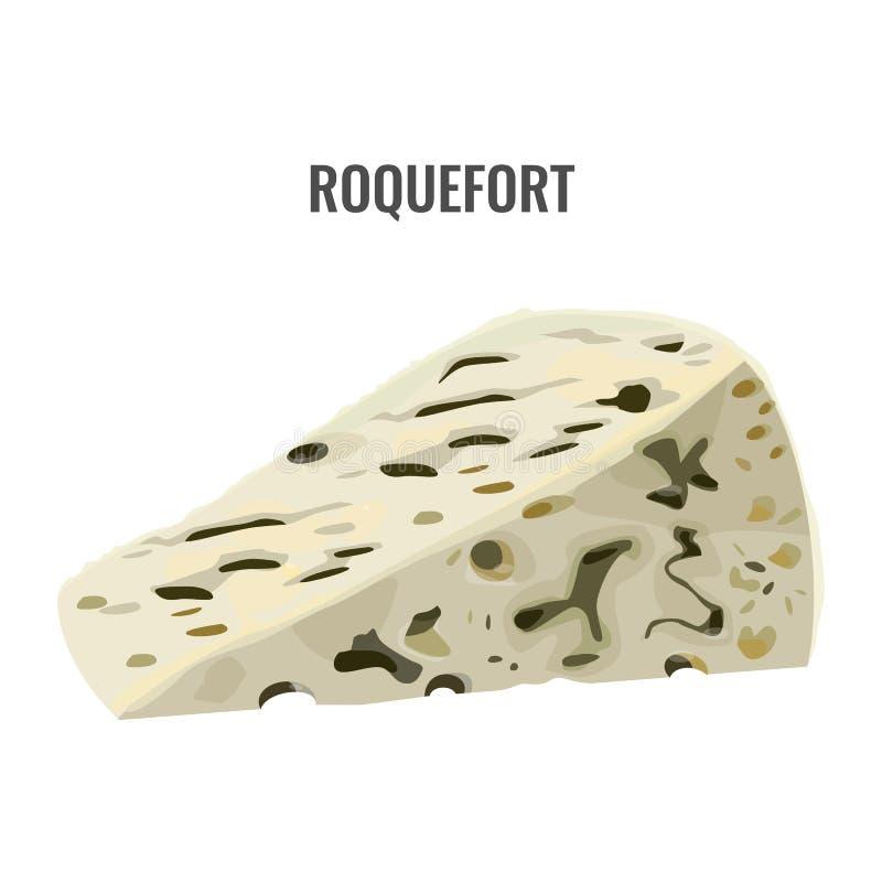 Roquefort miękki błękitny ser robić od ewes mleka ilustracja wektor