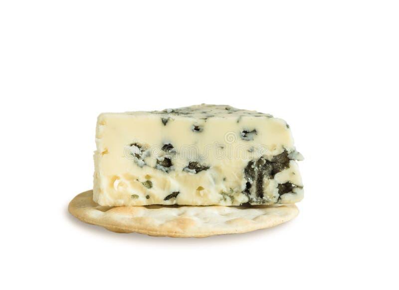 Roquefort ser na krakersie odizolowywającym na białym tle zdjęcie stock