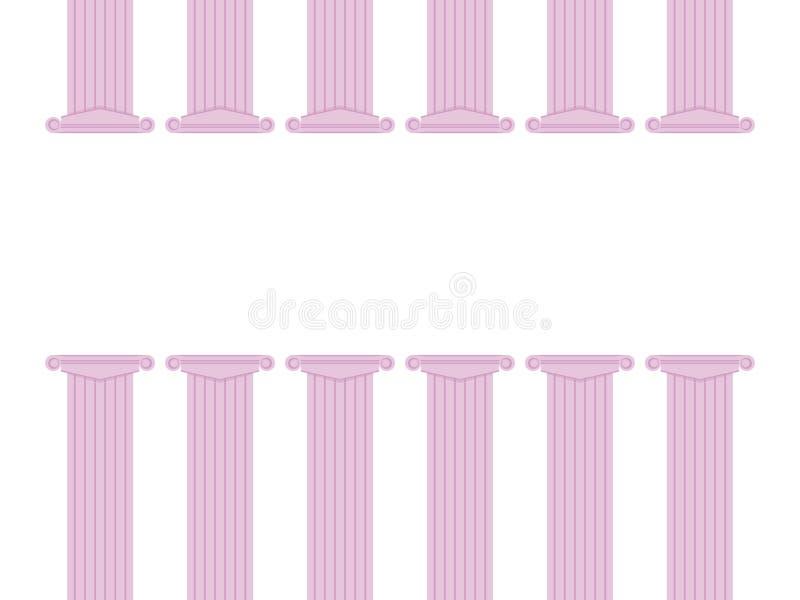Ror bottnar klassiska kolonner för rosa färgfärg ner och vektorillustrationramen av en grekisk teatersubstrate som meddelar utbil stock illustrationer