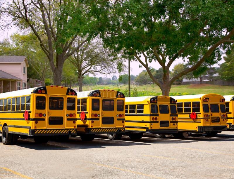 Ror typiska skolbussar för amerikan i en utomhus- parkera royaltyfri foto