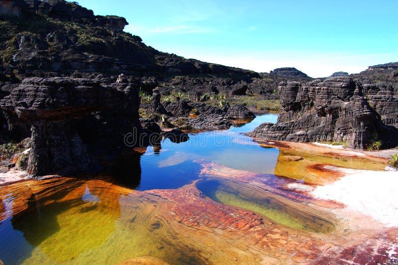 Roraima - Venezuela. Water ponds among strange rocks stock images