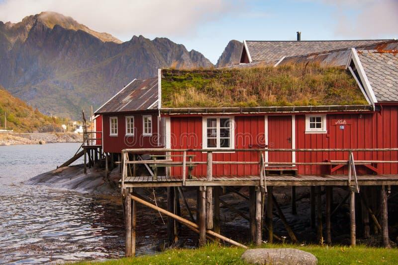 Rorbu. Hut at Lofoten Norway stock images
