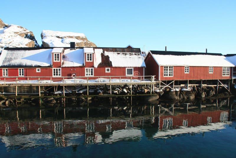 Rorbu in Lofoten. Traditional fisherman's cabins of Lofoten islands stock photo