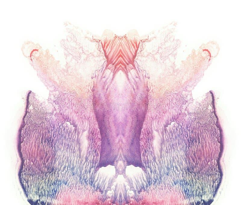 rorschach墨水斑点测试蝴蝶卡片  蓝色,紫罗兰色,紫色,桃红色,红色和棕色油漆污点 抽象绘画水彩 库存例证