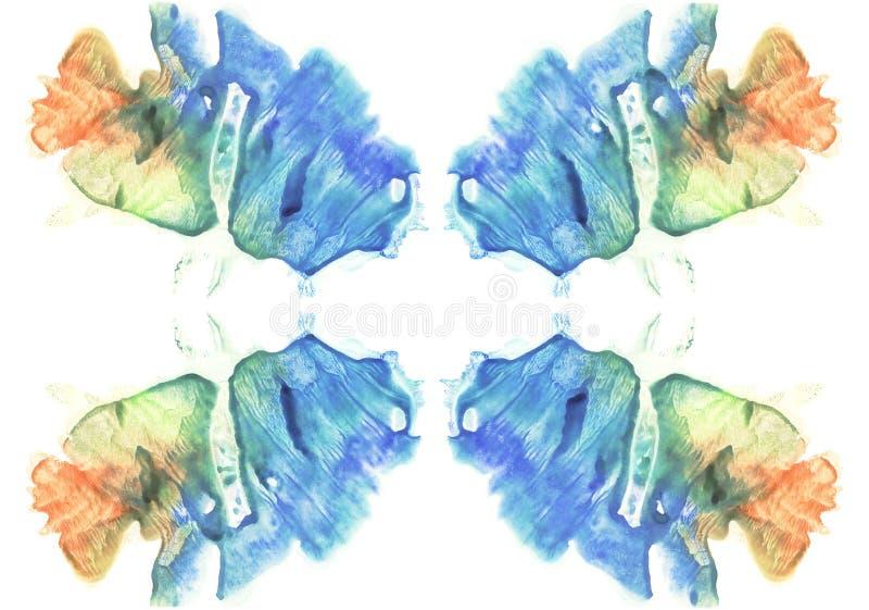 rorschach墨水斑点测试水彩图片卡片  抽象背景 蓝色,橙色,黄色和绿色油漆 向量例证