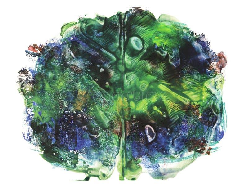 rorschach Acuarela azul y amarilla ilustración del vector