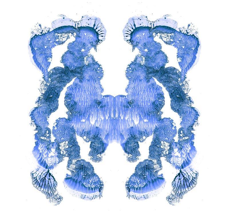 Rorschach bada odosobnionego na bia?ej ilustracji, przypadkowy abstrakcjonistyczny b??kitny t?o Psychiczny diagnostyczny inkblot  ilustracja wektor