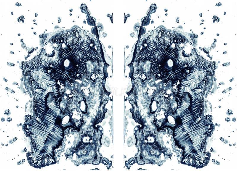 Rorschach bada odosobnionego na bia?ej ilustracji, przypadkowy abstrakcjonistyczny b??kitny t?o Psychiczny diagnostyczny inkblot  ilustracji