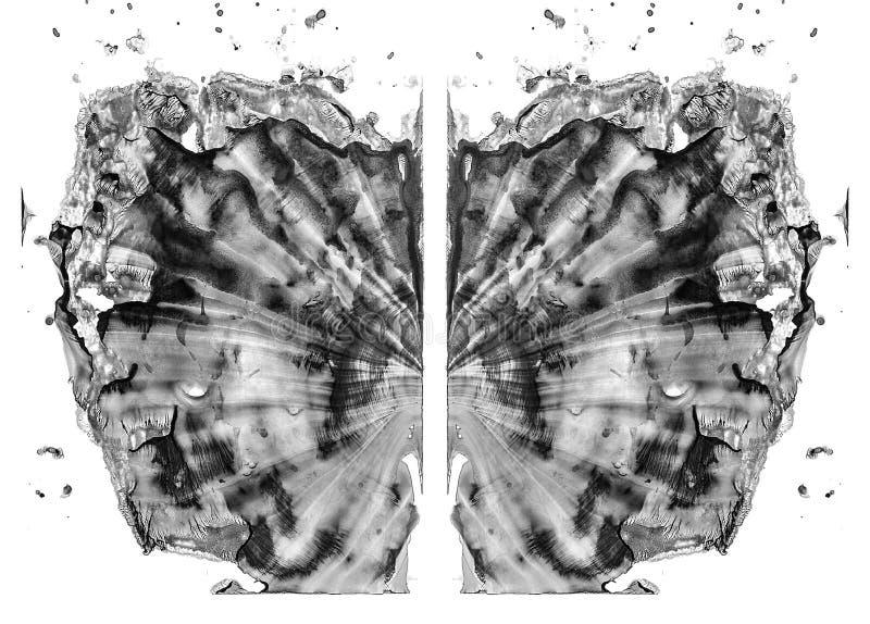 Rorschach bada odosobnionego na bia?ej ilustracji, przypadkowy abstrakcjonistyczny czarny i bia?y t?o Psychiczny diagnostyczny in royalty ilustracja