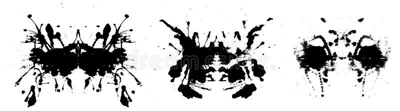 Rorschach inkblot test illustration, symmetrical abstract ink stains. Rorschach inkblot test illustration, random symmetrical abstract ink stains. Psycho stock illustration
