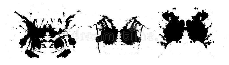 Rorschach inkblot test illustration, symmetrical abstract ink stains. Rorschach inkblot test illustration, random symmetrical abstract ink stains. Psycho royalty free illustration