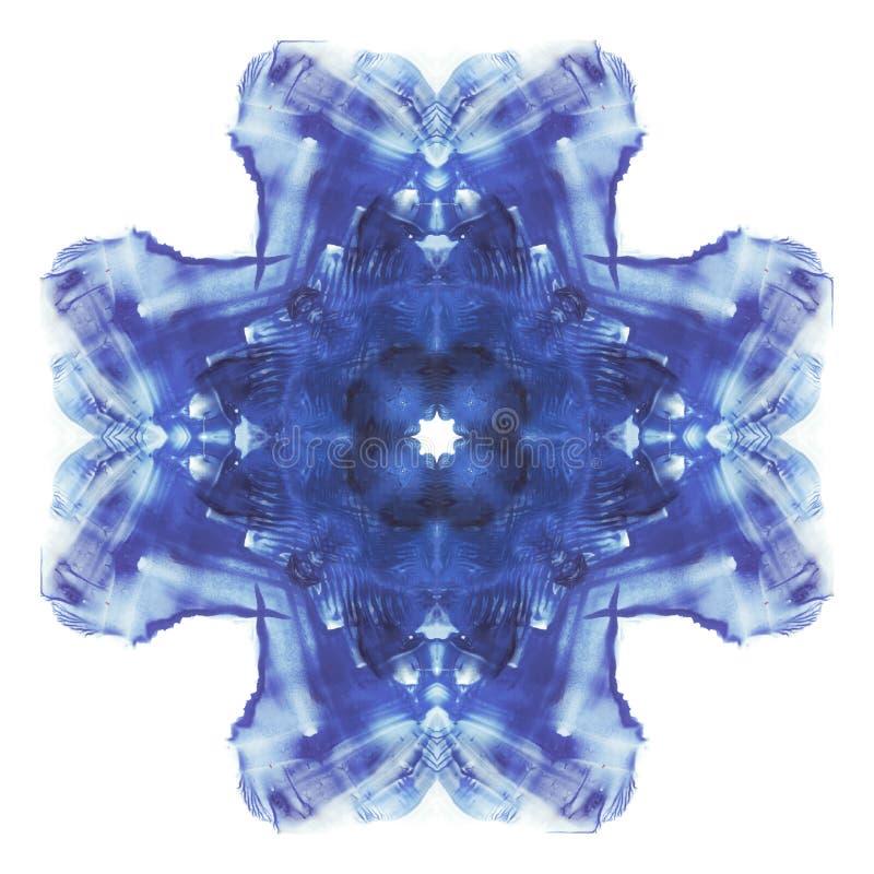 rorschach Korsformig symmetrisk fläck för blå vattenfärg Fin abstrakt målning royaltyfri illustrationer