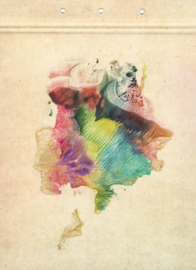 rorschach Pintura roja, púrpura, de la naranja, azul, verde y amarilla de la acuarela en el papel viejo Estilo de la vendimia Fon stock de ilustración