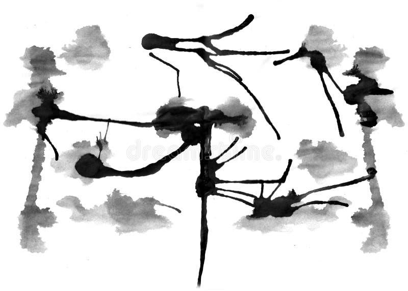 Rorschach prov med vattenfärgen stock illustrationer