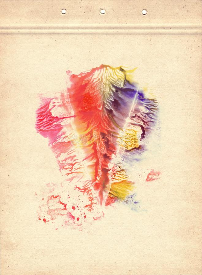 Rorschach. Red, purple, orange, blue, magenta and yellow watercolor painting on sheet of old paper. Vintage style. Abstraction bac. Rorschach. Red, purple vector illustration