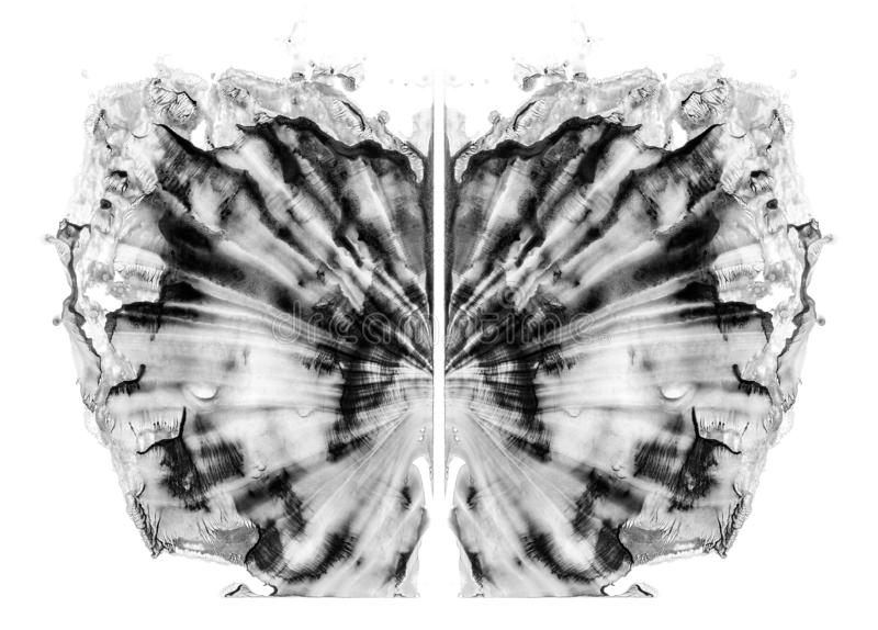 Rorschach test isolated on white illustration, random abstract black and white background. Psycho diagnostic inkblot test. Rorschach test isolated on white vector illustration