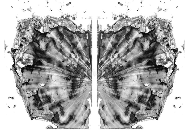 Rorschach test isolated on white illustration, random abstract black and white background. Psycho diagnostic inkblot test. Rorschach test isolated on white royalty free illustration