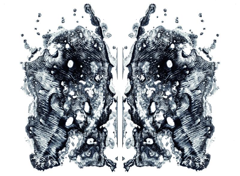 Rorschach test isolated on white illustration, random abstract blue background. Psycho diagnostic inkblot test. Rorschach test isolated on white illustration stock illustration