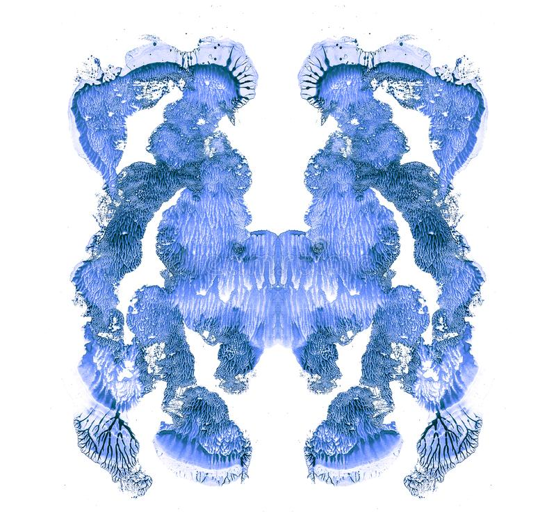 Rorschach test isolated on white illustration, random abstract blue background. Psycho diagnostic inkblot test. Rorschach test isolated on white illustration vector illustration