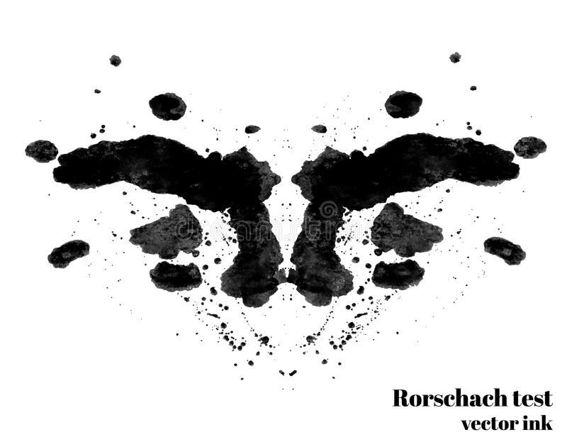 Rorschach-Testtintenfleck-Vektorillustration Psychologischer Test Schattenbildtintenkleks lizenzfreie abbildung