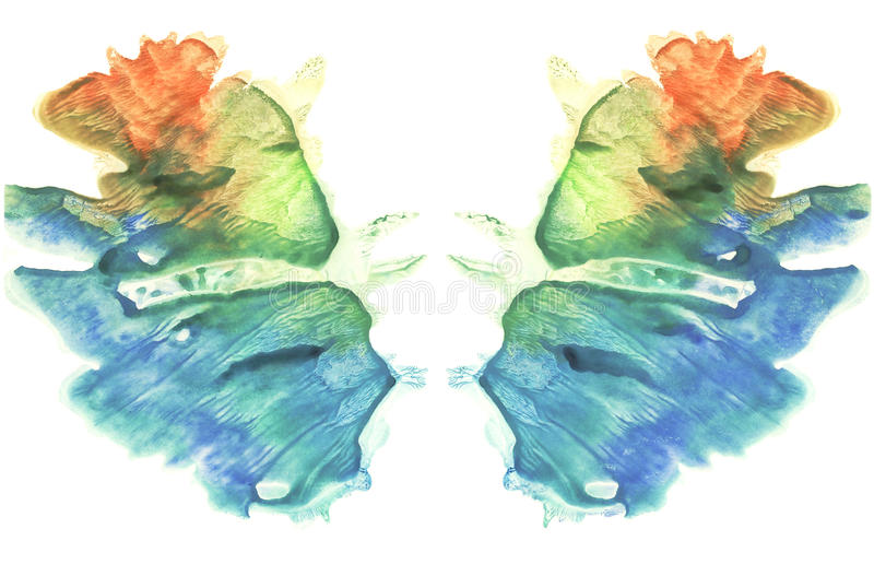Rorschach. Watercolor picture. Abstract background. Colorful image. Blue, orange, yellow and green paint vector illustration