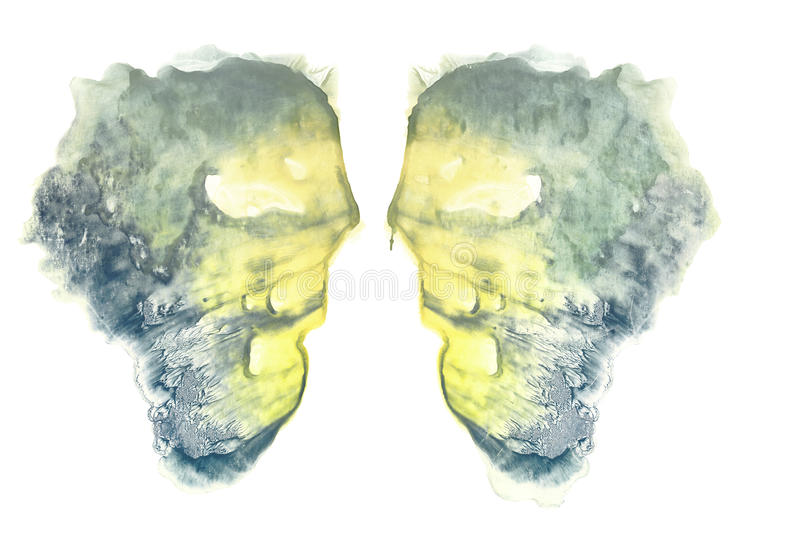 Rorschach. Yellow watercolor. Rorschach. Abstraction background. Blue and yellow watercolor royalty free illustration