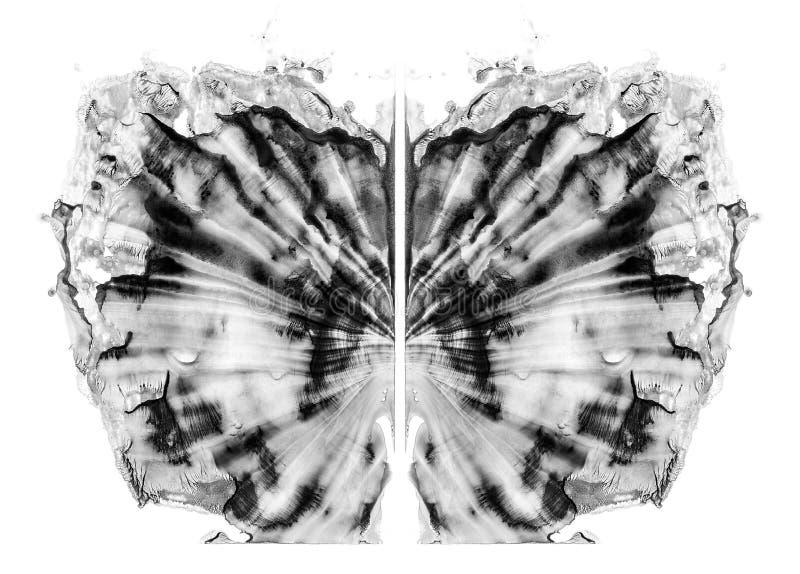Rorschachtest op witte illustratie, willekeurige abstracte zwart-witte achtergrond wordt geïsoleerd die Psycho kenmerkende inkblo vector illustratie