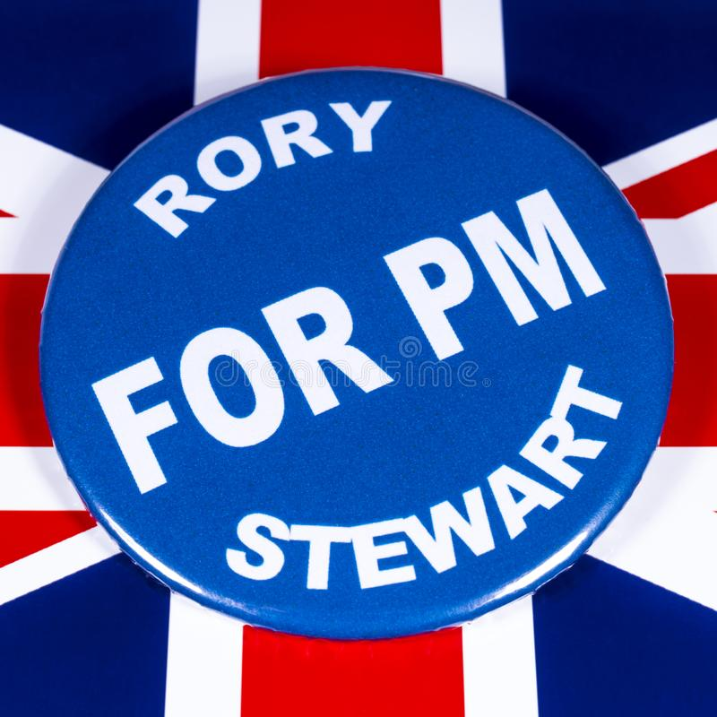 Rory Stewart for Prime Minister. London, UK - June 11th 2019: A badge with Rory Stewart for Prime Minister, pictured over the flag of the UK.  Rory Stewart is stock photography