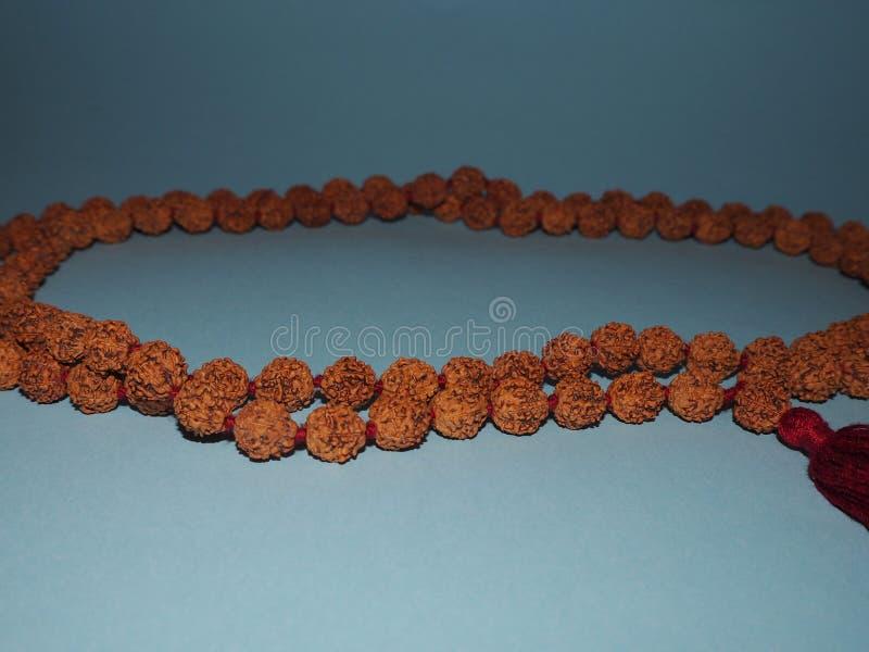 Rosário dos grânulos de Rudraksha no fundo azul foto de stock
