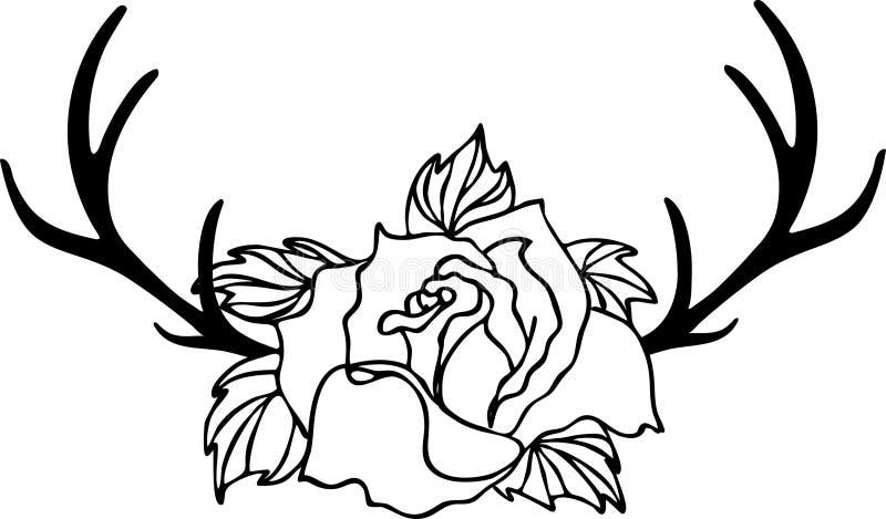 Ros- och horn på kronhjorthjortar, blommateckning och att skissa med linje-konst på vita bakgrunder royaltyfri illustrationer