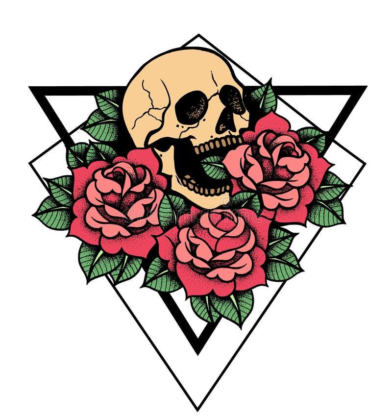 Ros- och skalletatuering med den sakrala geometriramen royaltyfri illustrationer