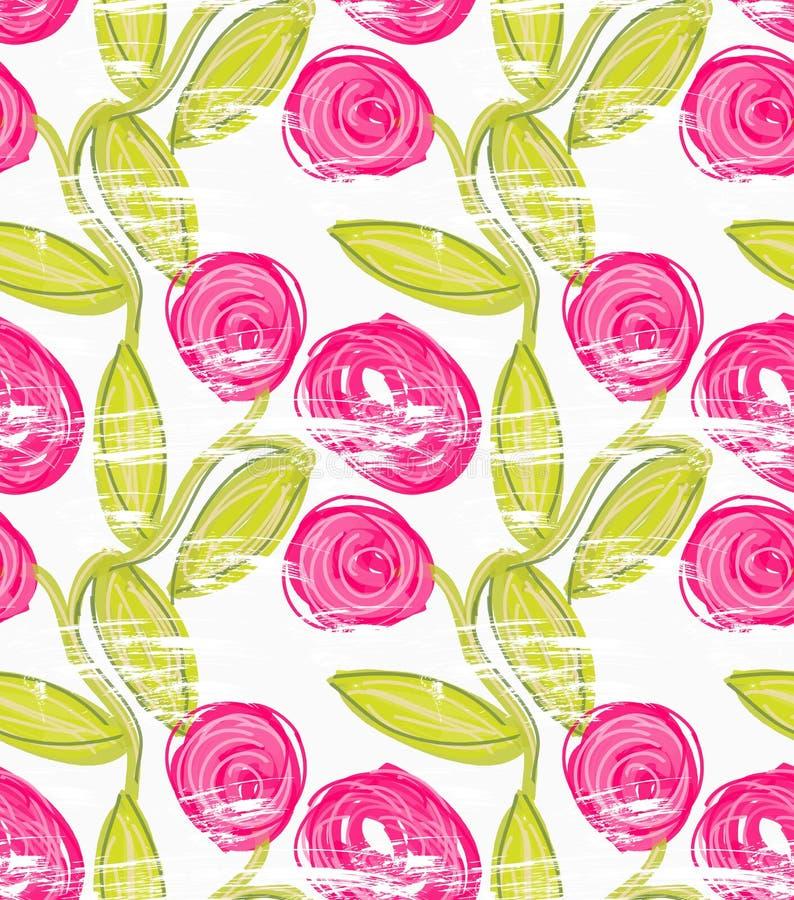 A rosa áspera do rosa da escova floresce na videira verde ilustração stock