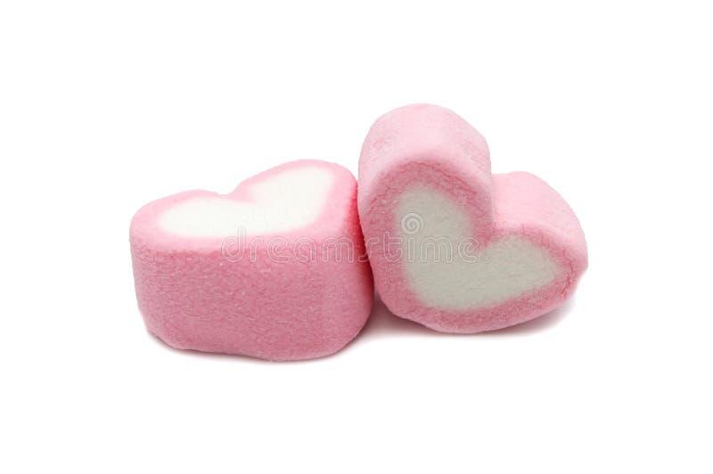 Rosa älsklingformmarshmallow arkivfoton