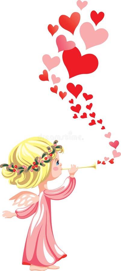Rosa ängel stock illustrationer