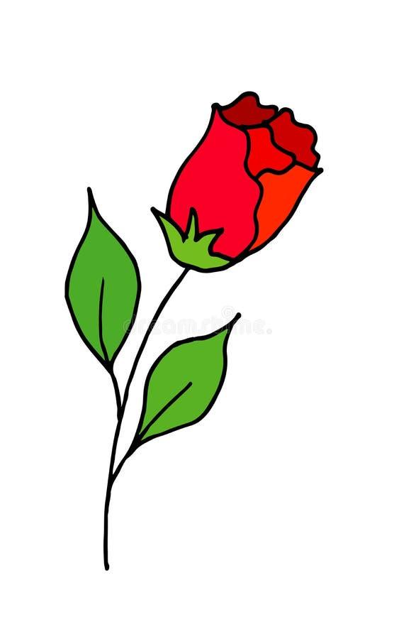 Rosa è un fumetto di scarabocchio del disegno della mano Un bocciolo di rosa sbocciante Illustrazione di vettore illustrazione vettoriale