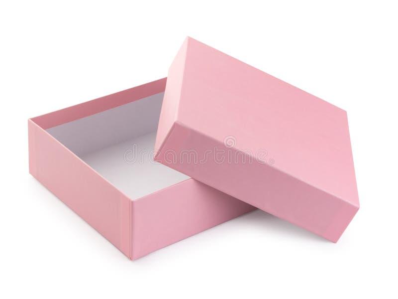 Rosa öppen gåvaask, isolerat på vit fotografering för bildbyråer