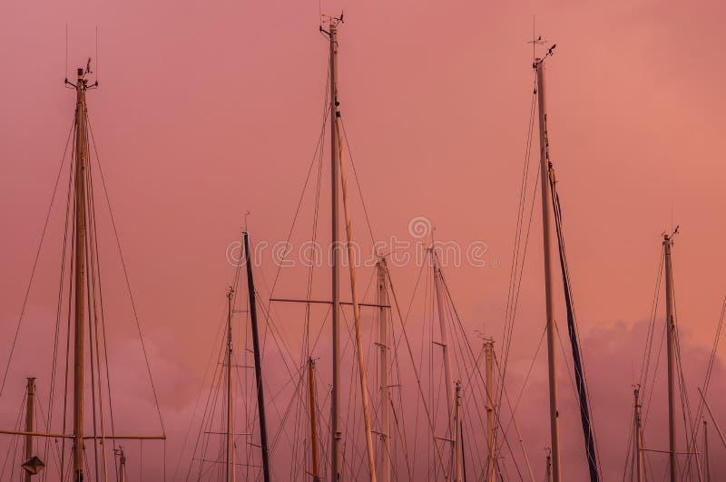 Rosa Abend im Jachthafen, Maste im Himmel stockbilder