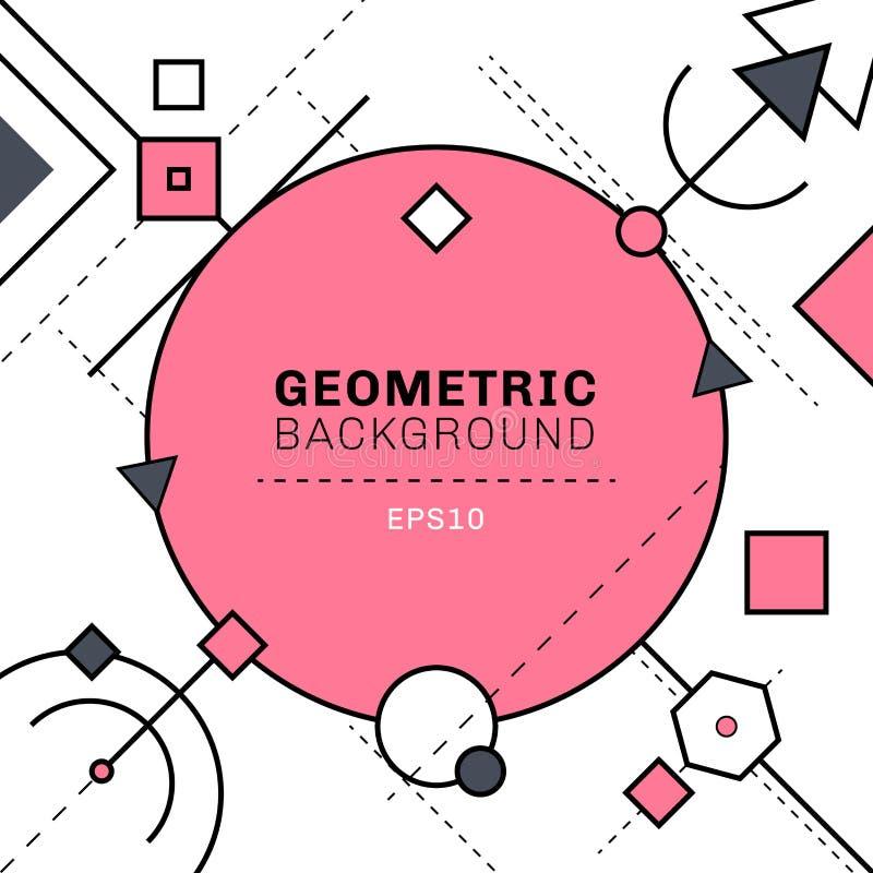 Rosa abstracto y líneas geométricas y de la rociada grises composición en el fondo blanco con el espacio para el texto Círculos,  ilustración del vector