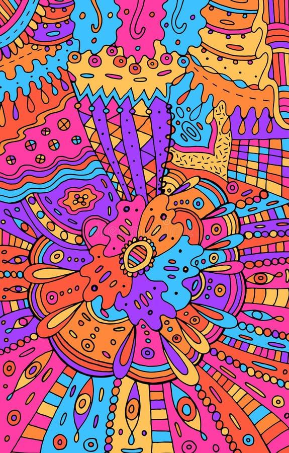 Rosa abstrato colorido psicadélico e fundo azul Desenho do teste padrão da garatuja Textura tribal com flores Ilustra??o do vetor ilustração royalty free