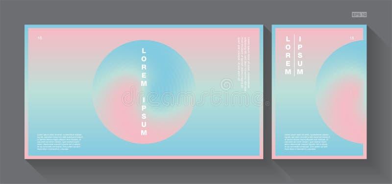 Rosa abstrato e azul dos doces do fundo com o cartaz A4 ilustração stock
