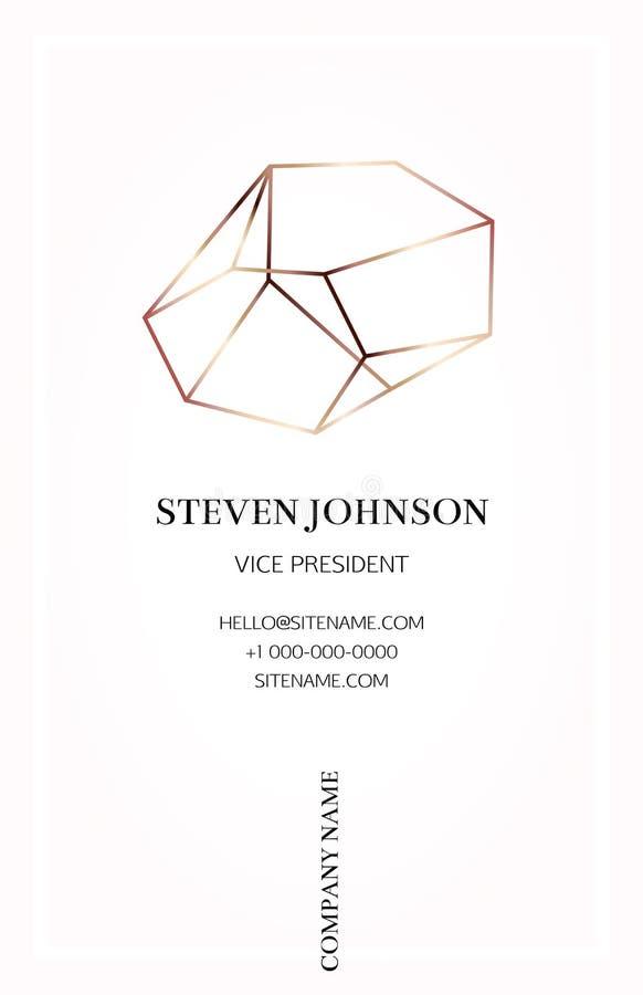 Rosa affärskort med en bronskristalllogo royaltyfri illustrationer